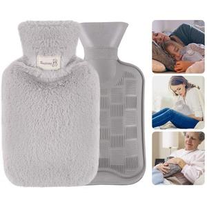 Wärmflasche, Wärmflaschen Mit Bezug, Wärmflasche Dicken Samtweichem Kuschelbezug Für Gemütliche Abende, Flauschig, Zarte Wärmflasche Klein fur Kinder Baby Erwachsener