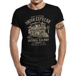 GASOLINE BANDIT® T-Shirt mit großem Frontprint National Railway schwarz 4XL