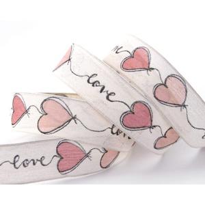 finemark 3 m x 25 mm Dekoband Love Creme Rosa Drahtkantenband mit Herzen Schleifenband Geschenkband Stoffband Hearts Valentinstag