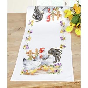 Vervaco Tischläufer Hühnerfamilie Zählmusterpackung-Stickpackung im gezählten Kreuzstich, Baumwolle, Mehrfarbig, 32 x 84 x 0.3 cm