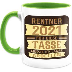 Shirtracer Tasse Rentner 2021 - braun - Rentner Geschenk Tasse - Tasse zweifarbig, Keramik