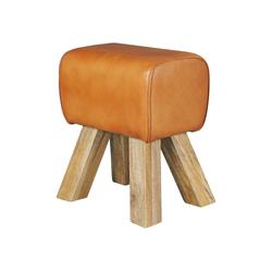 Wohnling Sitzhocker WL5.108, Design Turnbock Sitzhocker Braun 40 x 30 x 47 cm Turnhocker Hocker Lederhocker Springbock Beistellhocker Echtleder Fußhocker