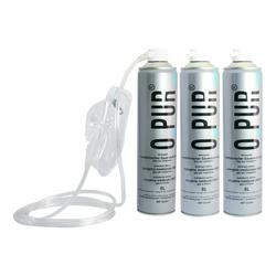 3er Set O PUR Sauerstoff 99,95% med. Sauerstoff in 8 L Dose + 3 Masken