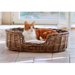 SILVIO design Tierkorb Rattan braun Katzenkörbe -kissen Katze Tierbedarf