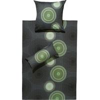 REDBEST Bettwäsche Kreise anthrazit/grün 155 x 220 + 40 x 80 cm