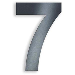 Metzler Hausnummer in Anthrazit - RAL 7016 Anthrazitgrau Feinstruktur Pulverbeschichtet – selbstklebend - Schrift Arial – massiver Stahl – Höhe 7,5 cm – Ziffer 7