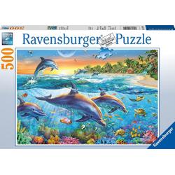 Ravensburger Puzzle Puzzle 500 Teile, 49x36 cm, Bucht der Delfine, Puzzleteile