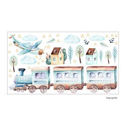 Wandtattoo 120 Zug Eisenbahn Flugzeug Sterne Wolken Aquarell - in 6 vers. Größen Wandtattoos hellblau Gr. 175 x 900