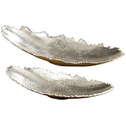 Meinposten Dekoschale Schale oval silber Metall massiv Deko Tischdeko 32 oder 42 cm 32 cm x 6 cm x 13 cm
