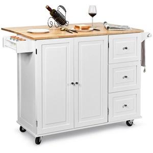 COSTWAY Küchenwagen Servierwagen, rollbar, mit Handtuchhalter, 135 x 76 x 91cm weiß