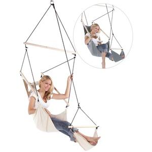 Feluna Hängesessel mit Fußstütze - Hängestuhl & Hängematte Indoor und Outdoor Liegesessel (Beige)