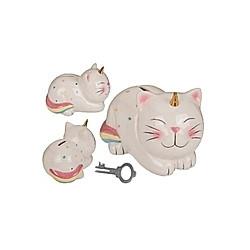 Spardose Katze  mit Schloss  Keramik