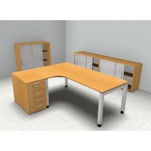 Komplettbüro Winkelschreibtisch Standcontainer Schiebetürenschrank vh-büromöbel