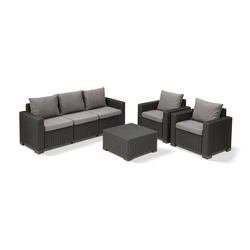 Allibert Loungeset Allibert California Loungeset, (Set, 4-tlg), 2x Sessel, 1x Sofa, 1x Tisch grau