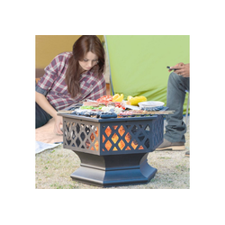 Masbekte Feuerschale, mit Grillrost, Feuerschale mit Funkenschutz Fire Pit für BBQ, Heizung, Garten Terrasse Metall Feuerkorb 3 in 1 Feuerstelle im Freien (Hexagonal Feuerstelle)