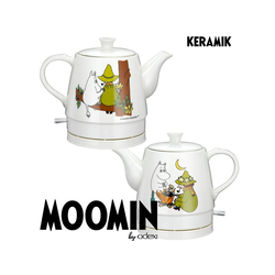 MOOMIN Wasserkocher 19130006 Keramik Wasserkocher by ADEXI Wasserkocher in Teekannen-Form, Mumin Design,Friendship Design, 0.70 l, 1750 W