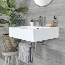 Eckiges Hängewaschbecken Weiß 600mm x 420mm mit Handtuchhalter Chrom - Sandford