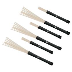 3 Paar SET XDrum NJB3 Jazzbesen Nylon-Brushes