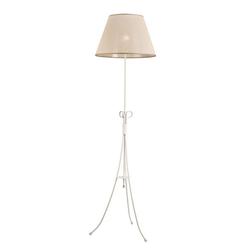 Licht-Erlebnisse Stehlampe ABUELA Dreibein Stehlampe Beige Weiß Stoffschirm Landhausstil Wohnzimmer