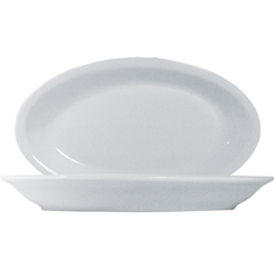 15 x Roma Uni weiß Platte oval 24cm Saturnia