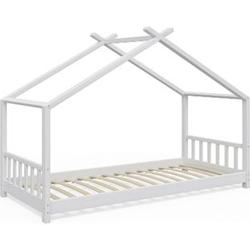 VitaliSpa Kinderbett Design Hausbett Kinder Bett Holz Haus 90x200cm Weiß