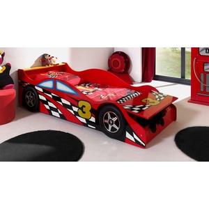 Kleines rotes Autobett mit Bettkasten in 70x140 cm - Highway