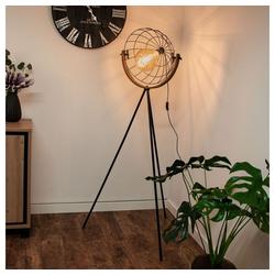 etc-shop Stehlampe, Vintage Steh Lampe Wohn Ess Zimmer Holz Scheinwerfer Käfig Design Stand Leuchte schwarz