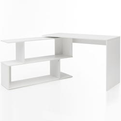 Wohnling Schreibtisch WL5.756, Design Schreibtisch Weiß Matt 119 x 78 x 49 cm mit Ablage Regal Eckschreibtisch mit Aufbewahrung Drehbar Modern Weißer Computer-Tisch Groß Fach Stauraum Winkelkombination