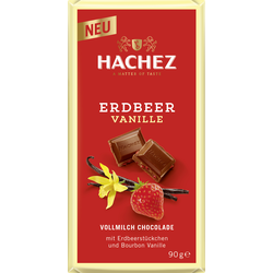 Hachez Erdbeer Vanille Vollmilch Schokolade Erdbeerstücke 90g