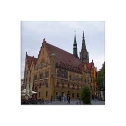 Artland Glasbild Ulmer Rathaus, Gebäude (1 Stück) 20 cm x 20 cm x 1,1 cm