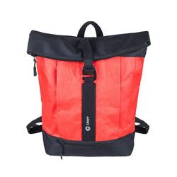 CRIPT Rucksack veggy backpack, Kraft Papier, reißfest, abwaschbar, leicht, ökologisch, nachhaltig rot