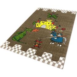 Festival Kinderteppich Momo Ritter, rechteckig, 13 mm Höhe, Drache mit Ritterburg Motiv braun Kinder Bunte Kinderteppiche Teppiche