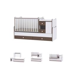 Lorelli Komplettbett Baby- und Kinderbett Mini Max, 3 in 1, umbaubar, für 2 Kinder gleichzeitig braun