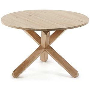 Runder Tisch aus Eiche White Wash massiv 120 cm Durchmesser