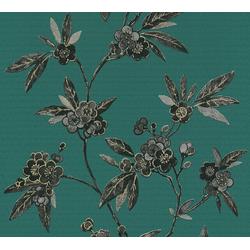 Vliestapete Asian Fusion, aufgeschäumt, floral, asiatisch grün