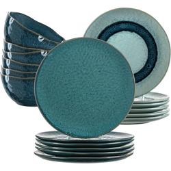 LEONARDO Geschirr-Set Matera, (Set, 18 tlg.), rustikaler Look blau Geschirr-Sets Geschirr, Porzellan Tischaccessoires Haushaltswaren