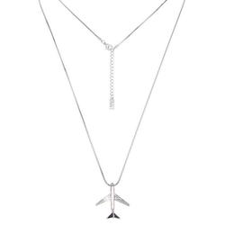 leslii Halskette mit Glitzer-Flugzeug silberfarben