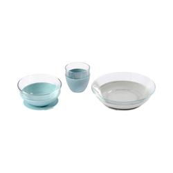 BÉABA Kindergeschirr-Set Geschirr Geschenkset, Glas, Jungle blau