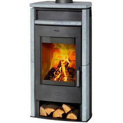 FIREPLACE Kaminofen Paris, Naturstein, 6,5 kW, Panorama Sichtscheibe, Fireplace grau