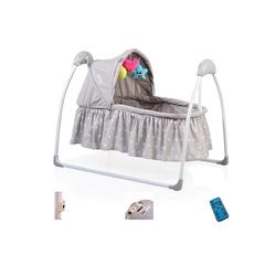 Moni Babywippe Babywiege Accent, elektrisch, Remote, Musik, Timer, Spielbogen, Insektenschutz grau