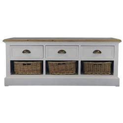 Casa Padrino Landhausstil Sitzbank mit 3 Schubladen und 3 Körben Antik Weiß / Naturfarben 110 x 35 x H. 44 cm - Landhausstil Möbel