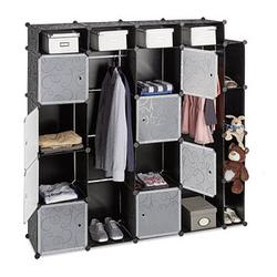 relaxdays Kleiderschrank transparent / schwarz 20 Fachböden