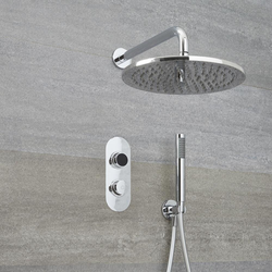 Digitale Dusche für zwei Funktionen, inkl. rundem Duschkopf zur Wandmontage & Brause - Narus, von Hudson Reed
