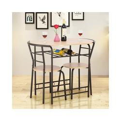 COSTWAY Sitzgruppe Sitzgruppe, (3-tlg), 3tlg. Sitzgruppe Küche, Esstisch mit 2 Stühlen, Balkonset beige