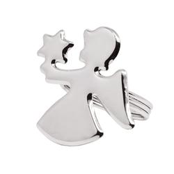 EDZARD Serviettenring Engel, Metall, (4er-Set), Ringe für Stoffservietten und Papierservietten, Serviettenhalter als Tischdeko mit Silber-Optik für Hochzeit und Weihnachten, edel versilbert und anlaufgeschützt