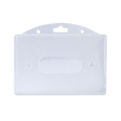 Kartenhülle, transparent aus Hartplastik mit 1.5mm Wandstärke, Loch für Lanyard/Band (VPE 50 Stk) für Dienstausweis, Namensschild