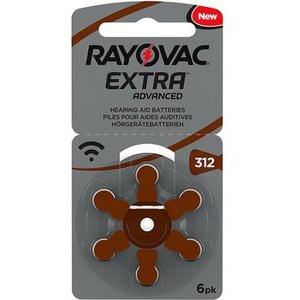 Rayovac Hörgerätebatterie Extra Advanced 312, 180 mAh, PR41, Zink-Luft, 6 Stück