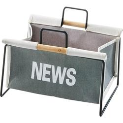 locker Zeitungsständer Zeitungsständer aus Metall, schwarz und Canvas grau