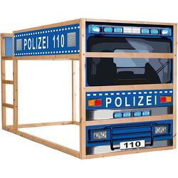 STIKKIPIX Möbelfolie IM210, Polizeiauto Möbelsticker/Aufkleber - passend für das Kinderzimmer Hochbett KURA von IKEA - Möbel Nicht Inklusive