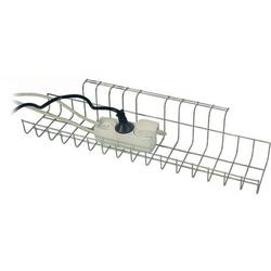 Kabelkorb B490xT100xH80-85mm silber f.Schreibtisch